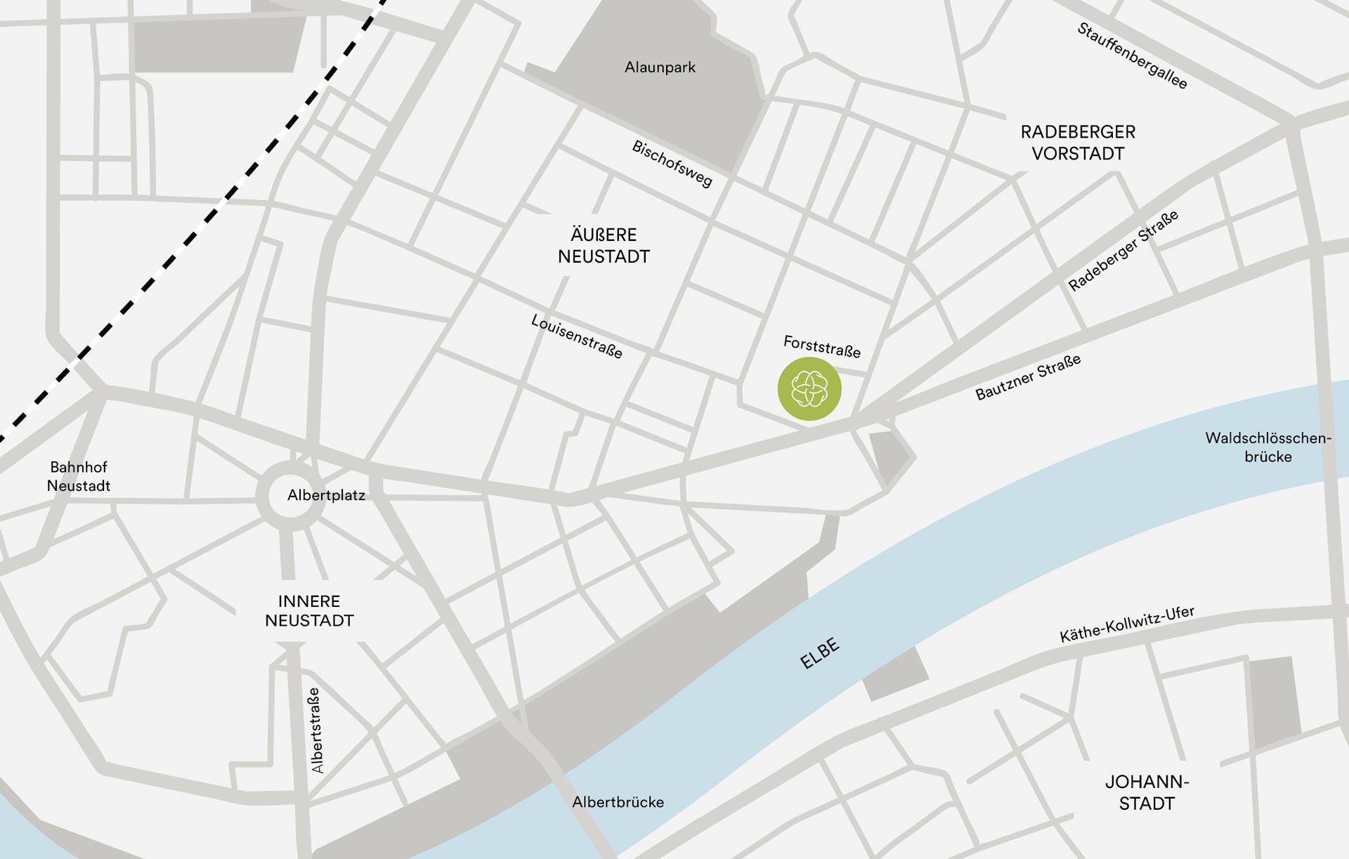 Anfahrtskarte Zahnarzt Dresden Neustadt